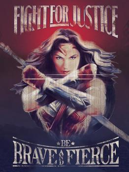 5051265956446 Impression Sur Bois Wonder Women Fight For Justice