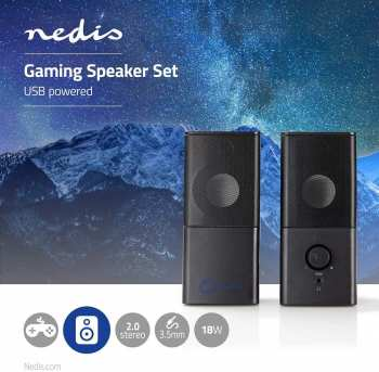 5412810270408 baffles Nedis haut parleur du jeu 2.0 alimention USB Ksanux Nedis