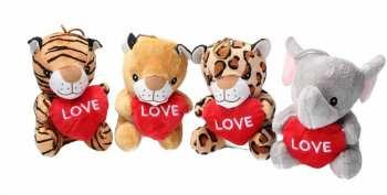 """8718668305666 Peluches Animaux Avec Coeur - Serie 1 """"Love"""" la piece - 14cm"""