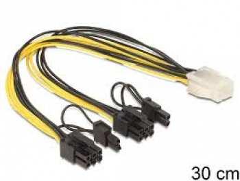 4043619854523 Delock Cable PCI Express 6 Pin Vers 2x8 Pins