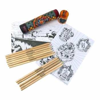 5051265723864 Tube De Crayons De Couleur Harry Potter Poudlard + Taille Crayon