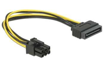 4043619829248 Delock Cable Sata 15 Pin Vers PCI Express 6 Pin