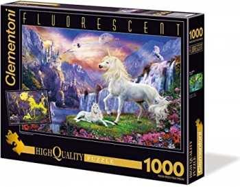 8005125977956 Puzzle 1000 Pieces Clementoni Licorne Devant Chateau (brille Dans La Nuit)