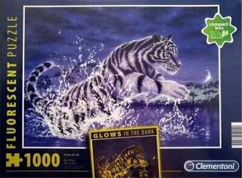 8005125977925 Puzzle 1000 Pieces Clementoni Tigre Blanc Royal ( Brille Dan La Nuit)