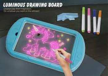 8718668778804 Glow Drawing Board TABLE À DESSIN LUMINEUSE LED AVEC 4 MARQUAGES