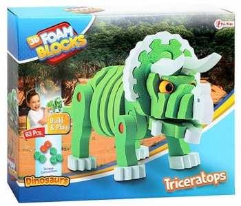 8719904435444 Puzzle 3D En Mousse - Triceratops - 63 Pieces