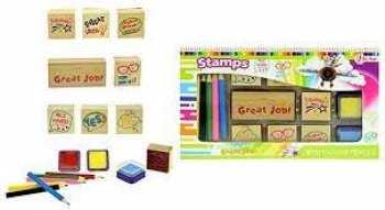 8714627470116 Set De 8 Tampons Avec Encre Et Crayons De Couleurs