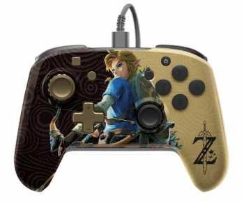 708056068288 Manette Filaire Pour Nintendo Switch Zelda Doree Et Noir Avec Entree Jack